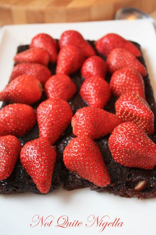 Gooey Chocolate Brownie and Strawberry Sandwich Cake