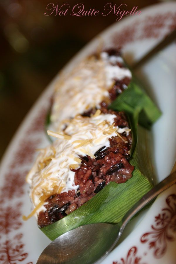 Green Gourmet black sticky rice and coconut in pandan leaf