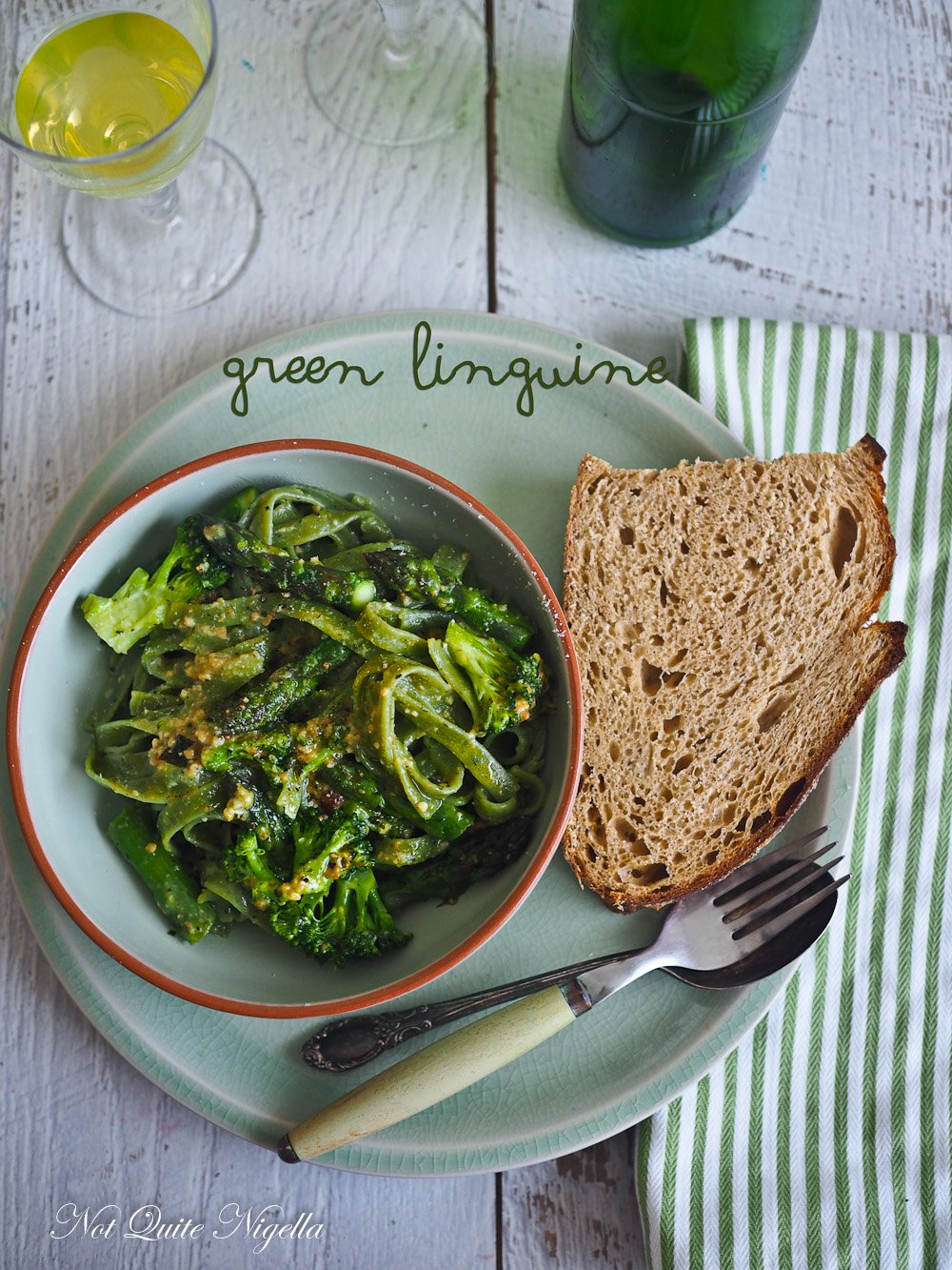 Vegetarian Linguine Asparagus Broccoli