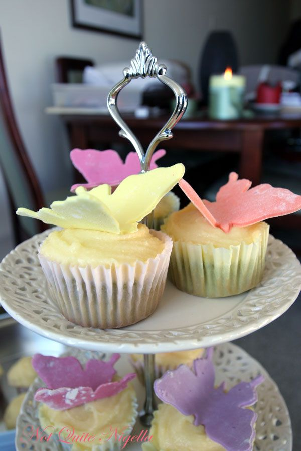 Green tea butterfly cupcakes w mascarpone frosting
