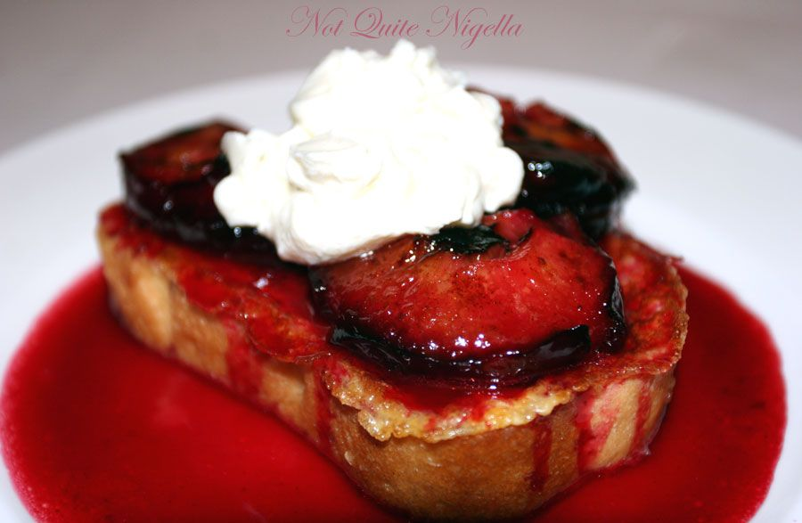 Gypsy Toast with Roasted Plums and Clotted Cream