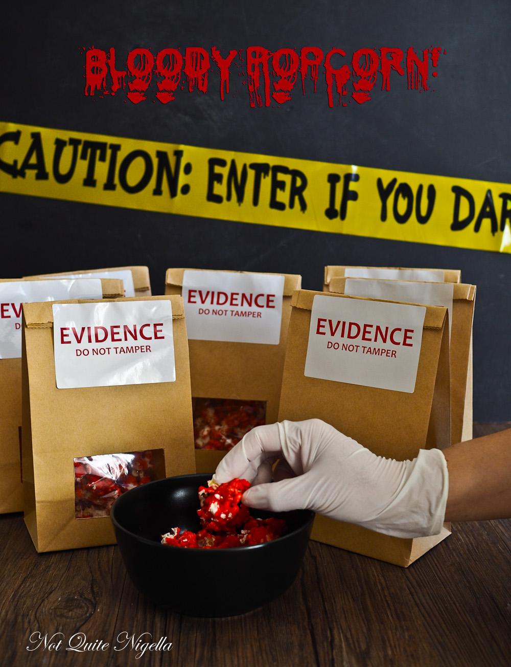 Halloween Popcorn Evidence Bag