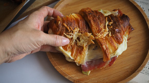 Ham & Cheese Croissant With Leek Bechamel {Make Ahead, Father's Day!}