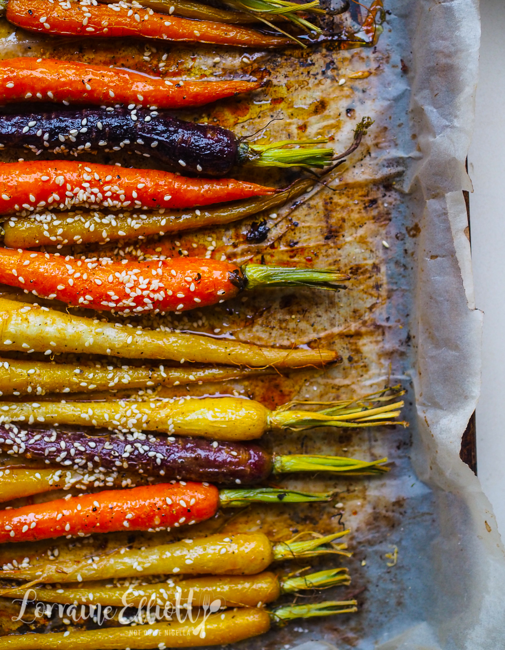 Roasted Rainbow Dutch Carrots With Honey & Sesame