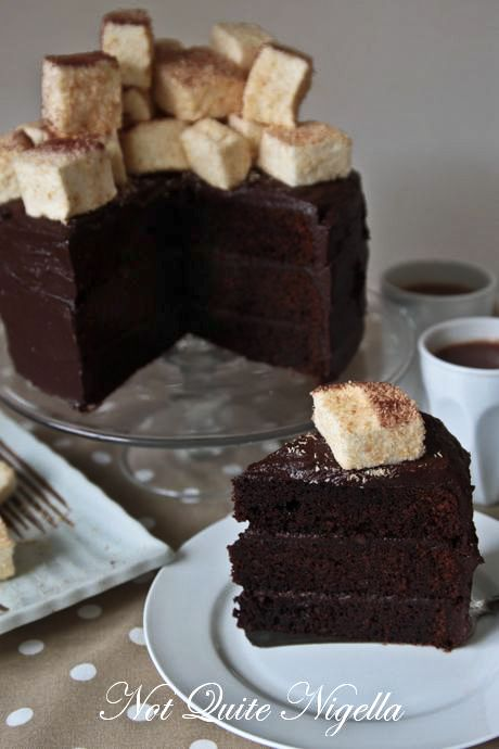 hot chocolate cake marshmallows