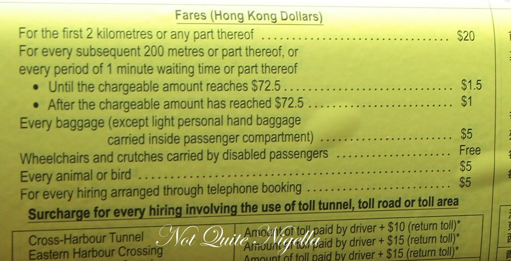 Hong Kong taxi sign