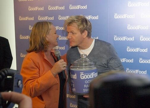 Giving Gordon Ramsay at swear jar at Good Food & Wine