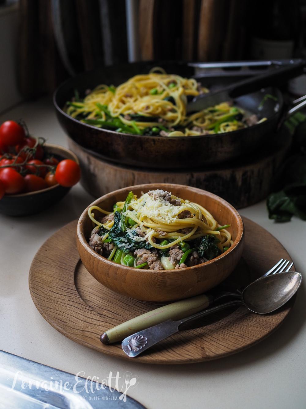 Italian Sausage, Spinach & Pea Spaghetti