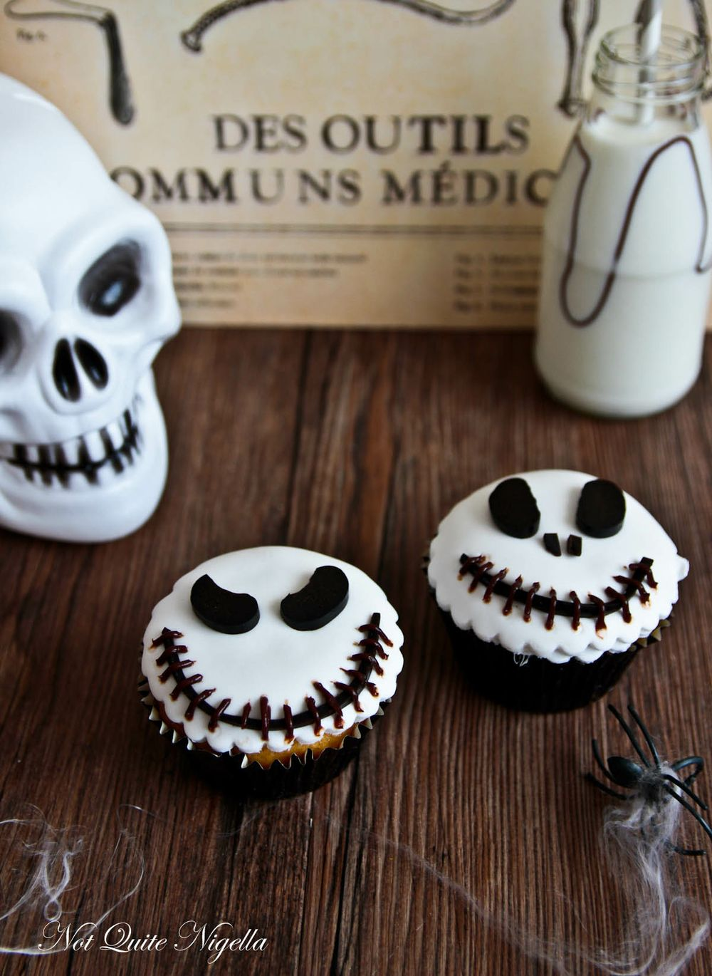 Jack skellington cupcakes not quite nigella - Halloween decorations for cupcakes ...
