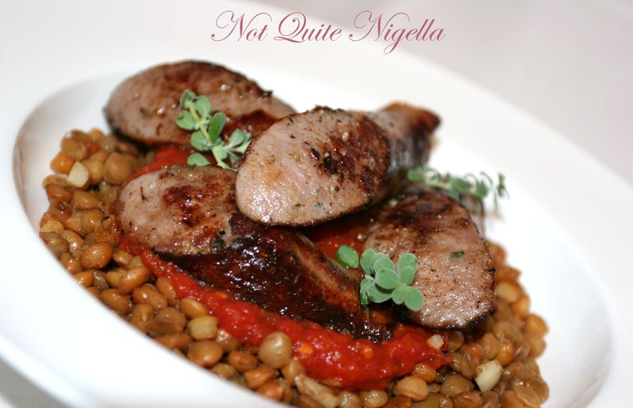 Sausages and green lentils by Jamie Oliver