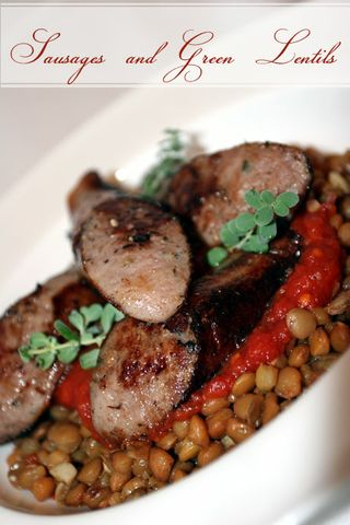 Jamie Oliver - Sausages and green lentils with tomato salsa from Jamie's Italy