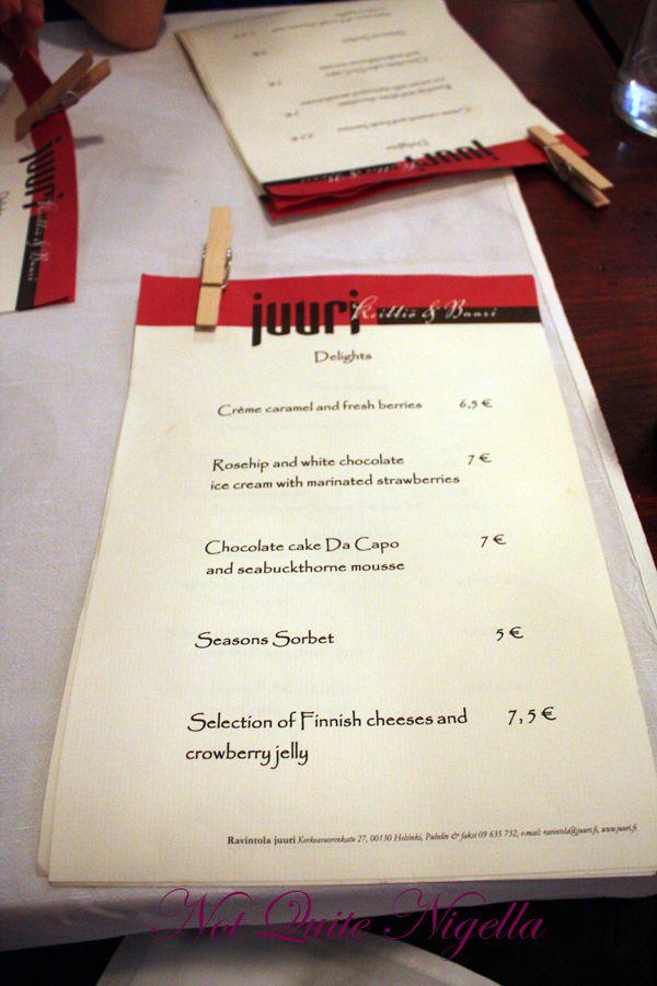 Juuri Sapas Helsinki dessert menu