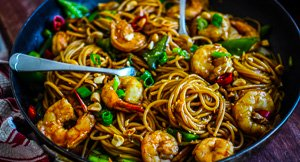 You Saucy Thing! Kung Pao Prawn Spaghetti