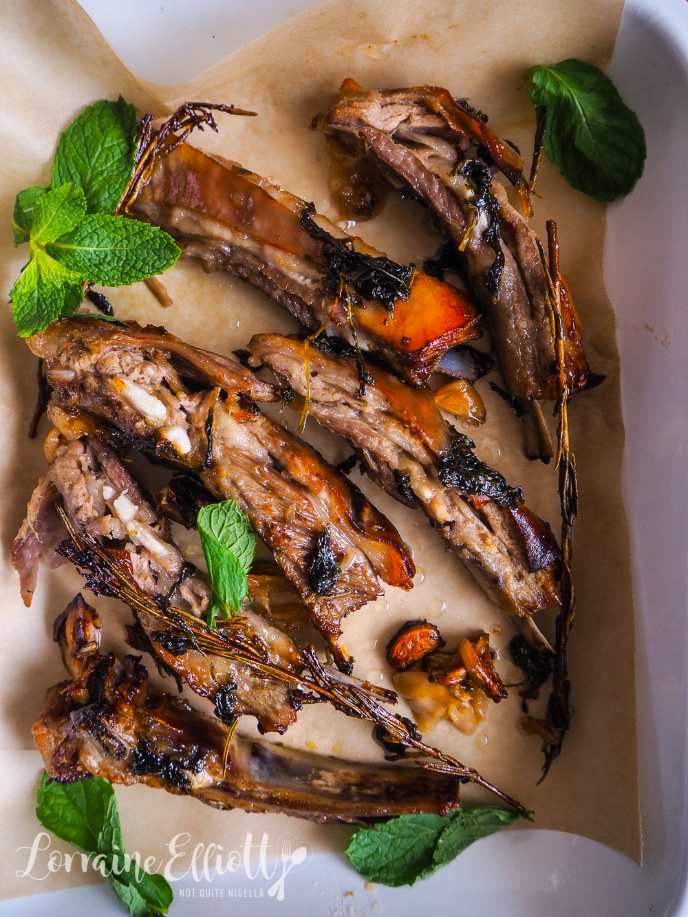 Sticky Lamb Ribs With Mint Sauce