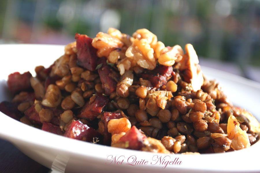 Lentil and chorizo salad
