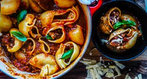 Lumaconi Pasta Stuffed with Slow Cooked Pork Rib Ragu!