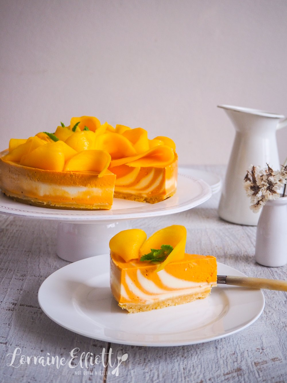 Mangoes & Cream Zebra Striped Cheesecake