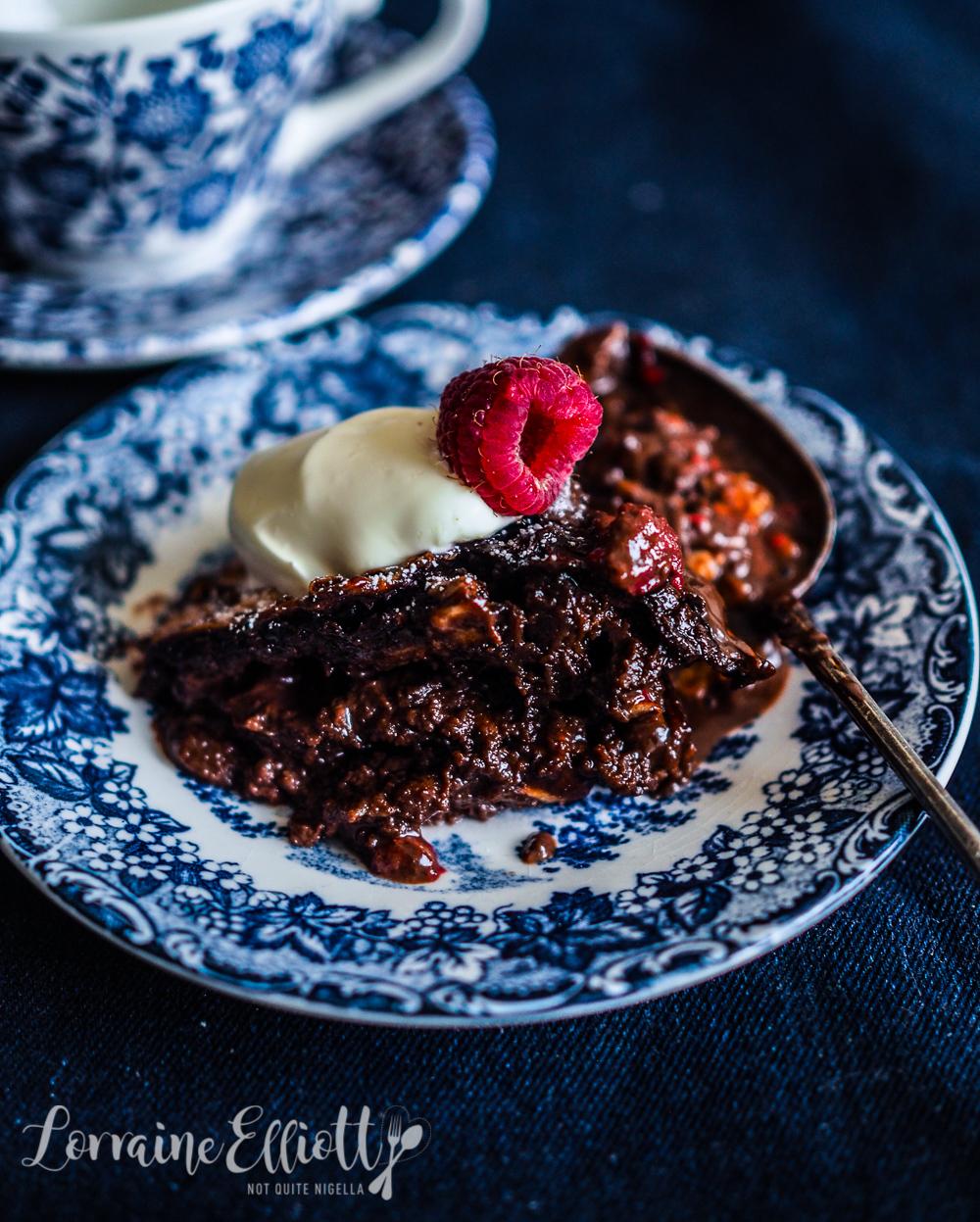 Chocolate & Raspberry Matzo Pudding