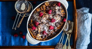 Rich & Gooey Chocolate & Raspberry Matzo Pudding