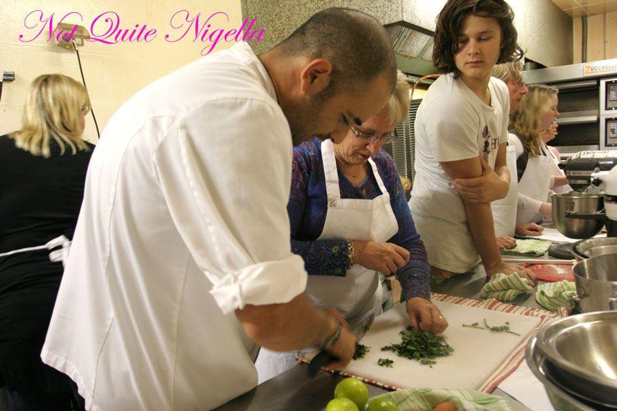 Adriano Zumbo Cooking classes chopping basil