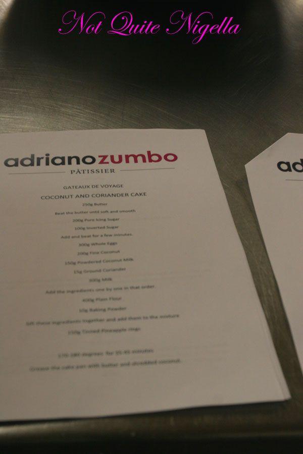 Adriano Zumbo Cooking classes