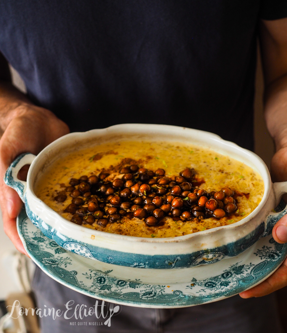 Mexican Rice Pudding with Candied Chickpeas
