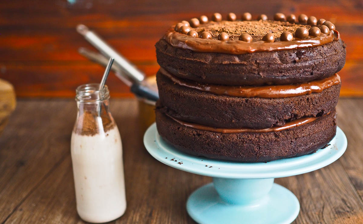 milo chocolate cake with chocolate fudge frosting   not