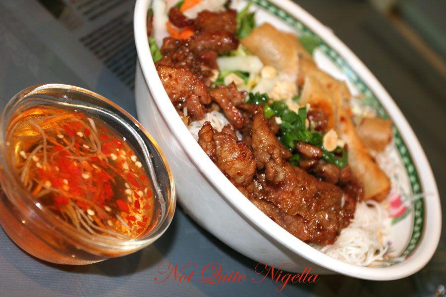 My Canh Vietnamese restaurant at Bankstown BUn with springrolls and BBQ pork