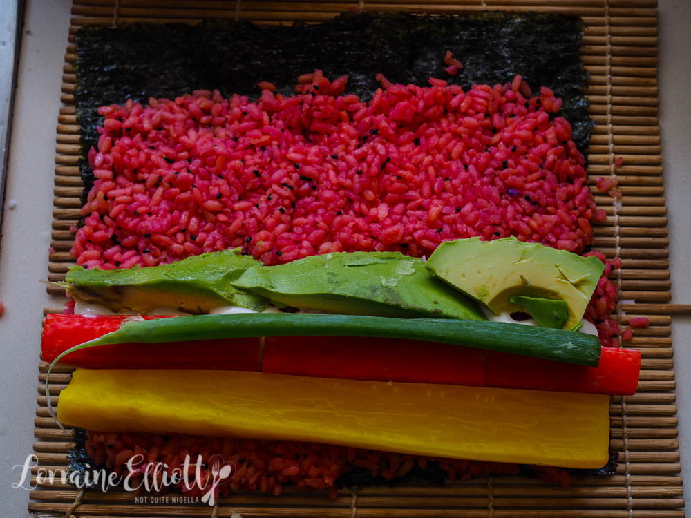 Naturally Coloured Rainbow Rice Sushi