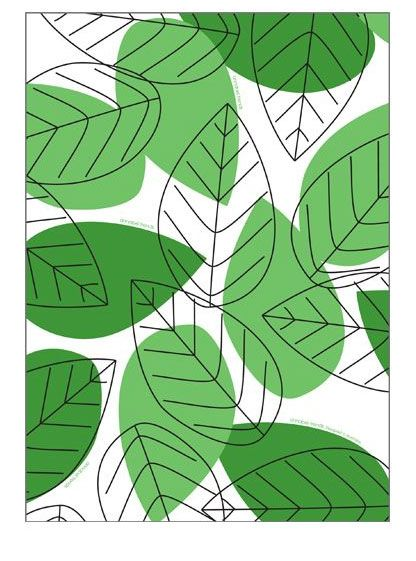 Annabel Trends green leaf teatowel