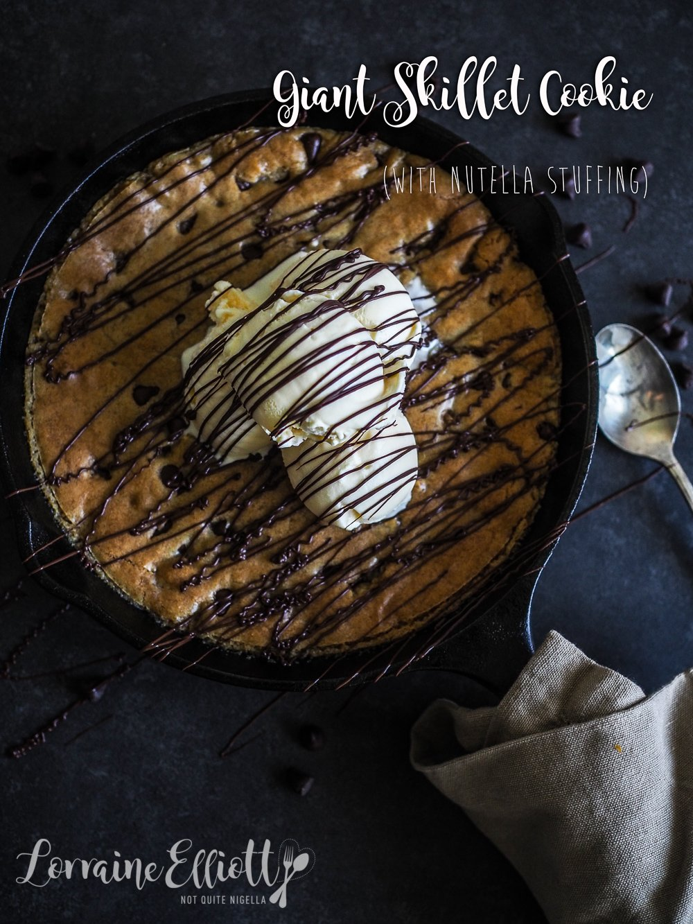 Skillet Chocolate Chip Cookie Pizookie With Nutella Filling