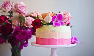 Pamela, The Ombre Vanilla Cake With Tahini Orange Blossom Buttercream Frosting!