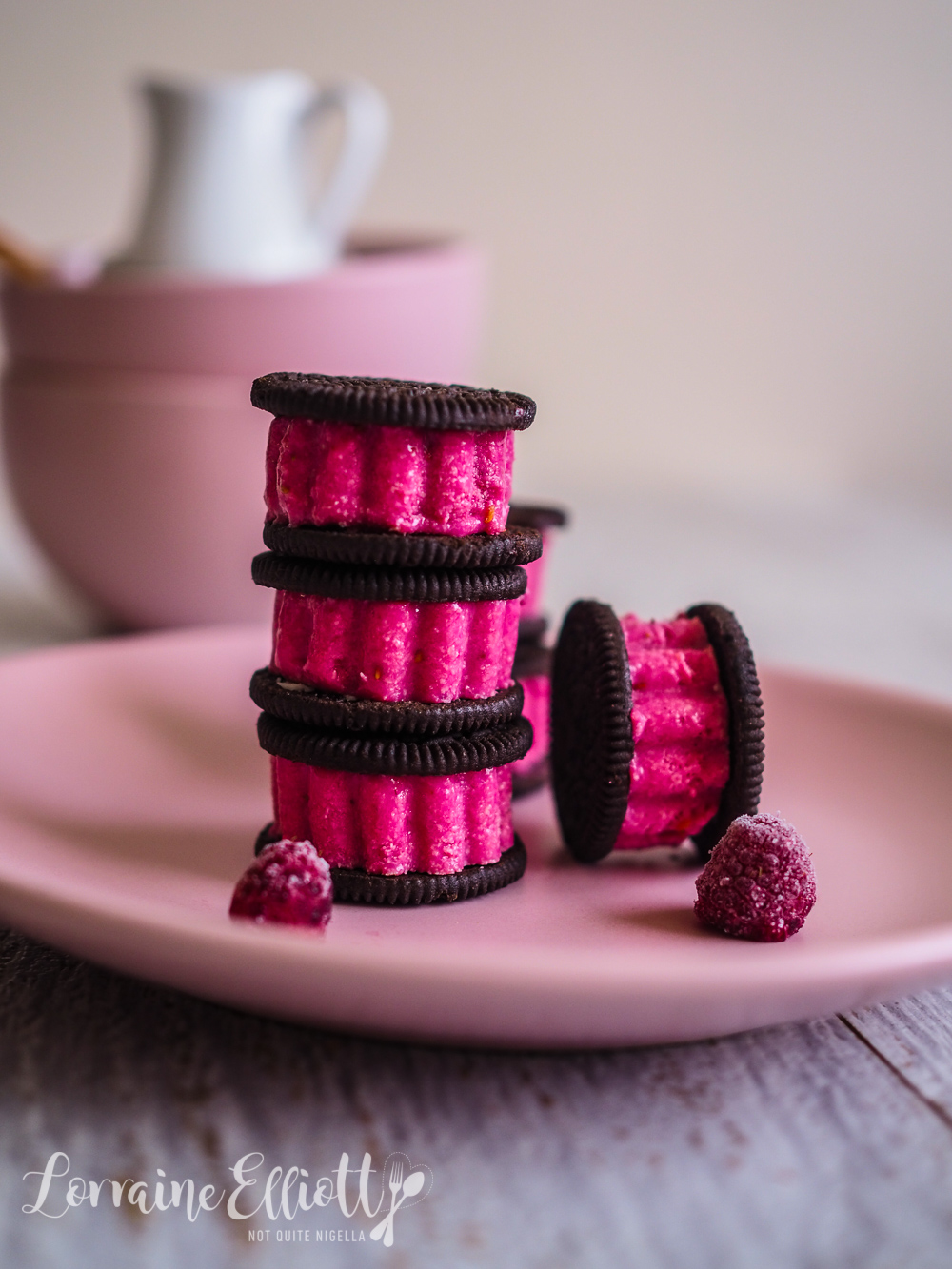 Oreo Raspberry White Chocolate Ice Cream Sandwiches