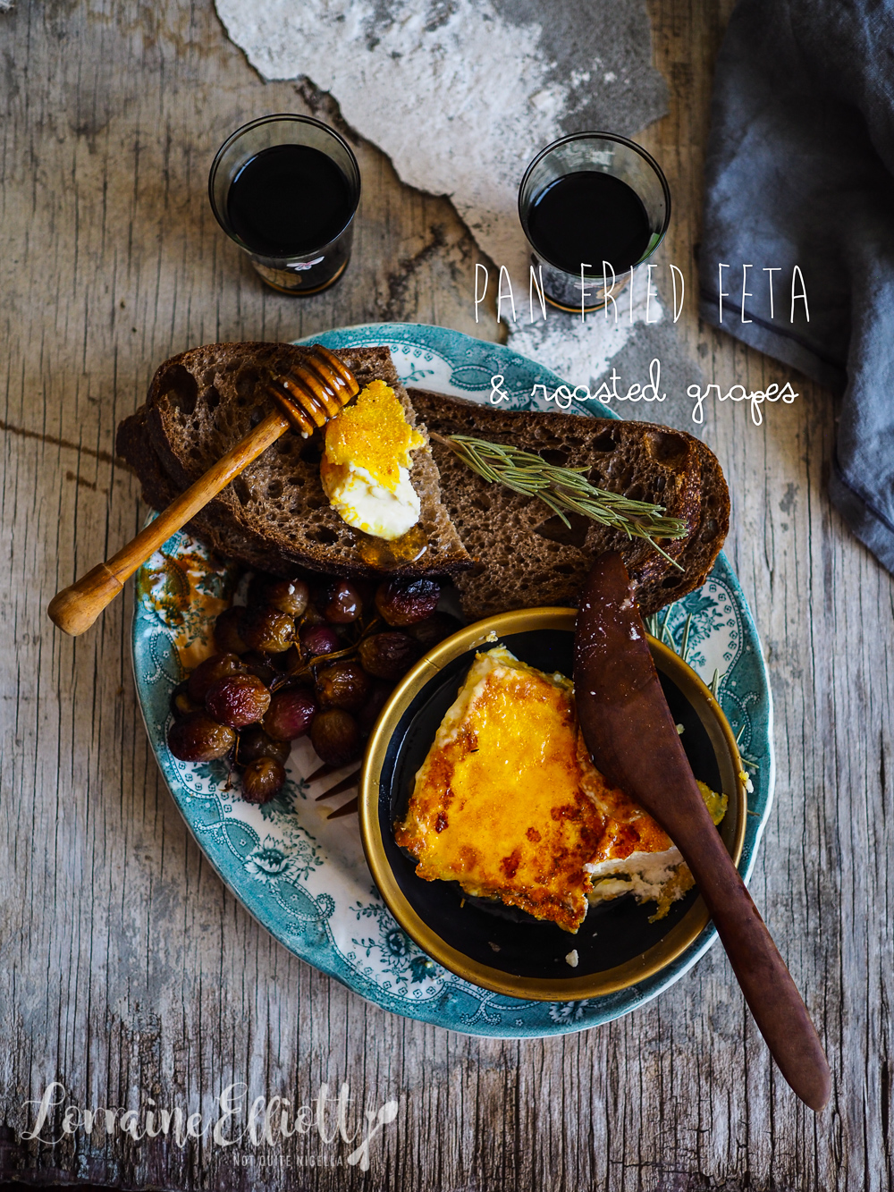 Pan Fried Feta With Balsamic Roasted Grapes