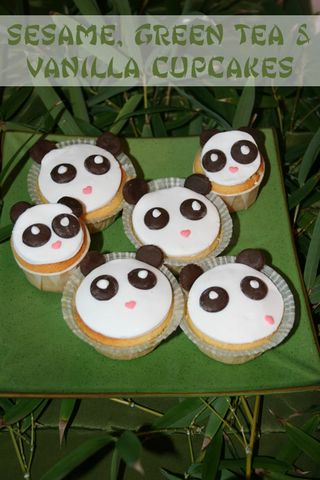 Sesame, Vanilla & Green Tea Panda cupcakes