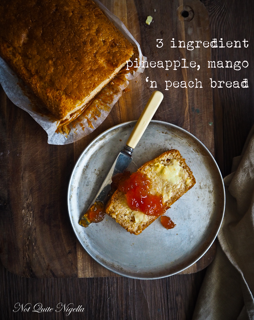 Three Ingredient Peach Bread