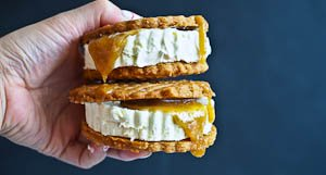 Crispy, Gooey, Creamy: Peanut Butter Salted Caramel Ice Cream Sandwiches