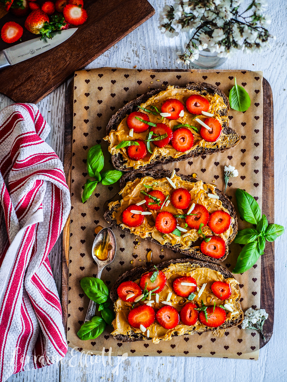 Peanut Butter, Strawberry and Basil Toast