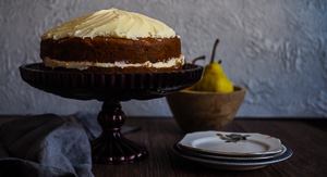 Pearfection! Pear & Olive Oil Cake With Lemon Cream Cheese Frosting