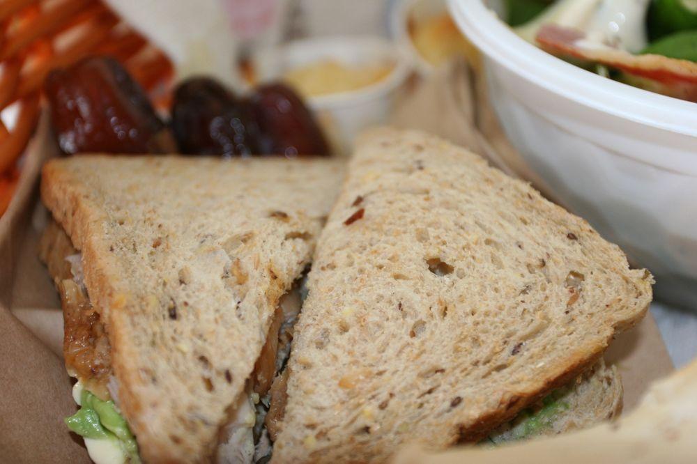 BBQ chicken and avocado on 9 grain bread