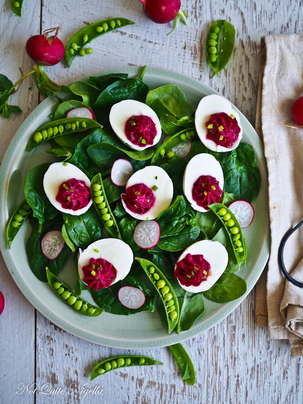 Hot Pink Devilled Eggs