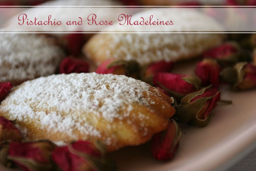 Pistachio and Rose Madeleines