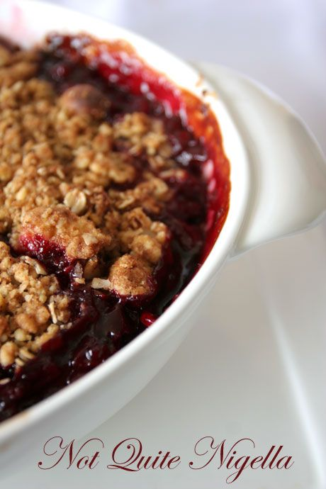 Plum and pear crumble