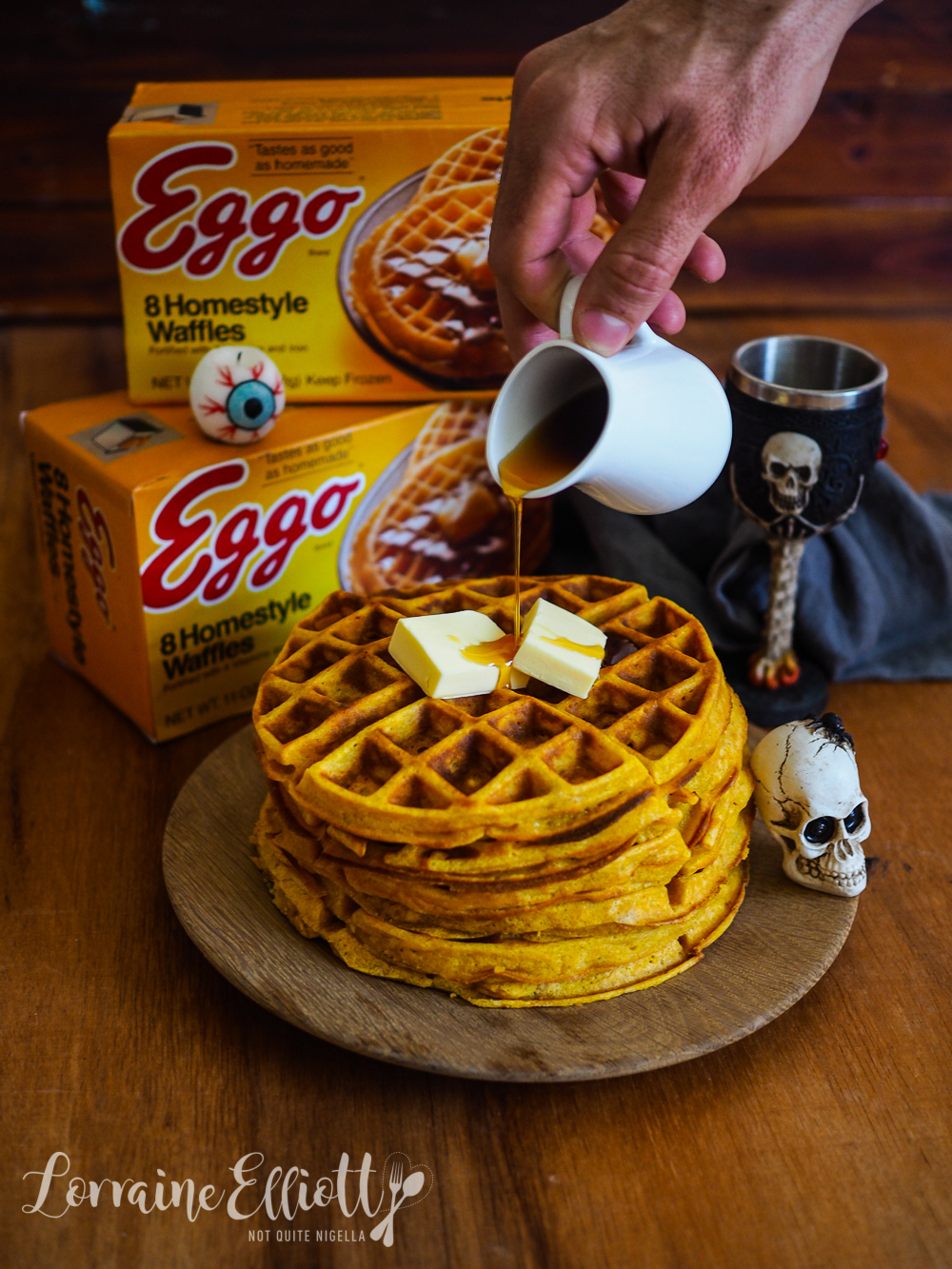 "Pumpkin & Maple Walnut ""Eggos"" Waffles"