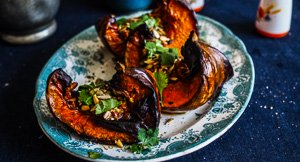 Delicious Caramelised Pumpkin Wedges with Seeds, Nuts & Herbs {Also A Vegan Version}