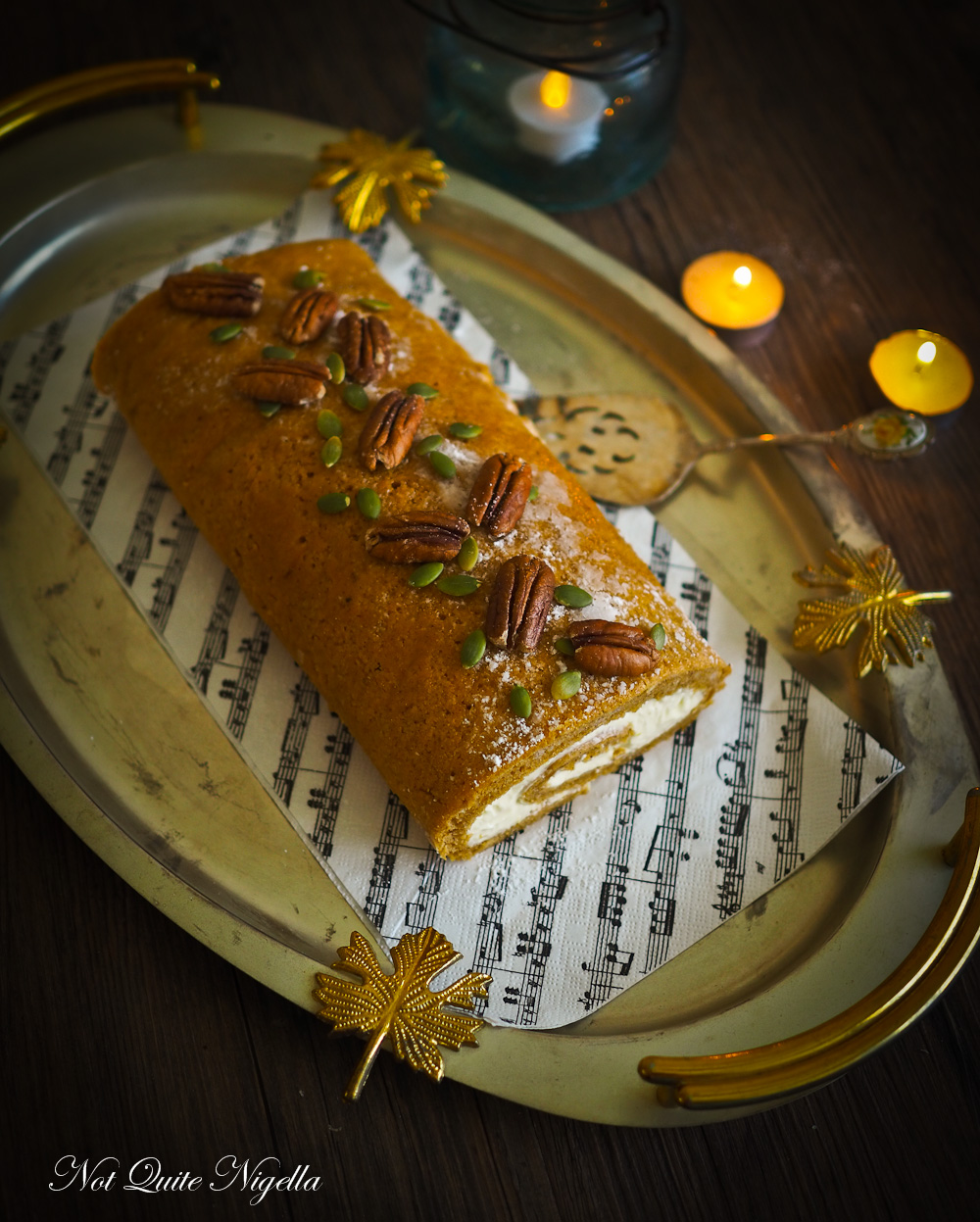 Spiced Pumpkin Gingerbread Maple Roulade