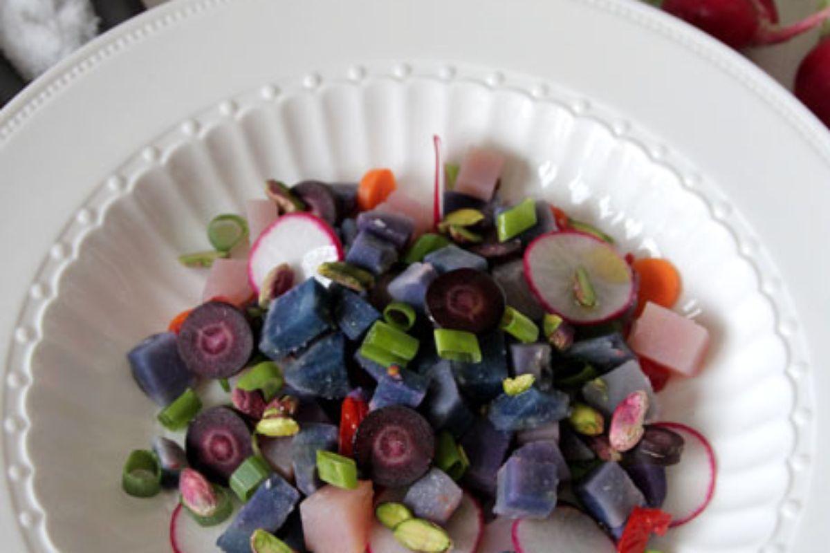 Purple Potato Salad recipe @ Not Quite Nigella