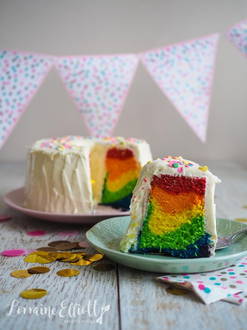 Rainbow Mardi Gras Chiffon Cake