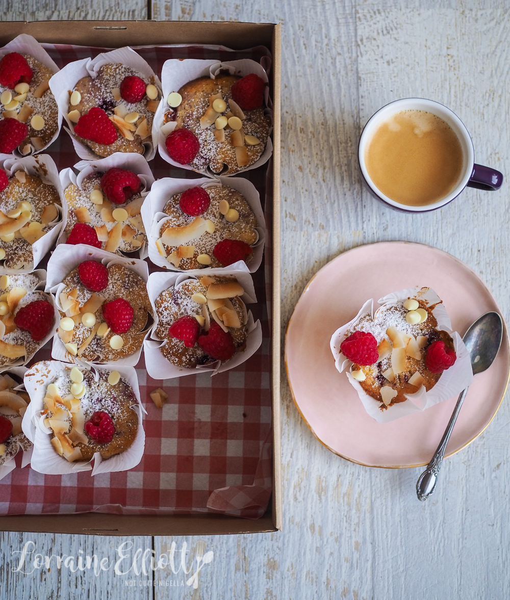 Raspberry Coconut White Chocolate Muffin Loaf