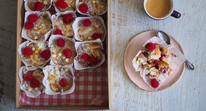 Raspberry Coconut + White Chocolate Muffin Loaf!